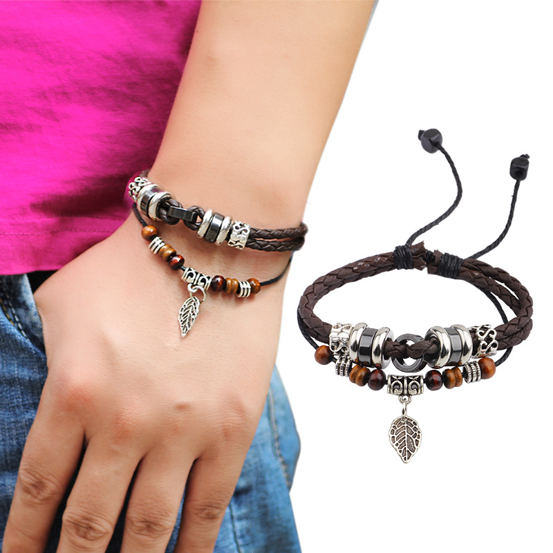 ER Handmade Retro Genuine Leather Woven Charm Bracelet Femme Vintage Male Braided Cord Rope Bracelets Mens Jewlery LB125(China (Mainland))