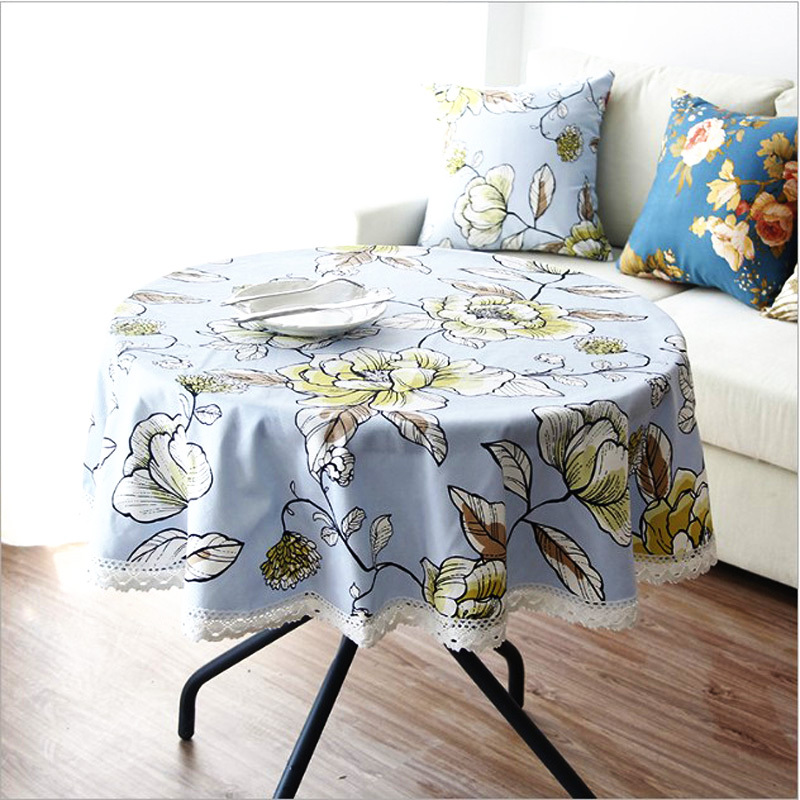 120 Cheap Round Lace Tablecloths For Round Tables Canvas Dining Table Covers Printed Floral Pastoral Style Dustproof Light Blue(China (Mainland))
