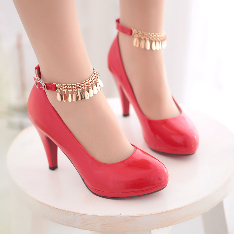 Free shipping new fashion sweet buckle patent leather red bottom pumps thin high heel 8 cm women wedding shoes party