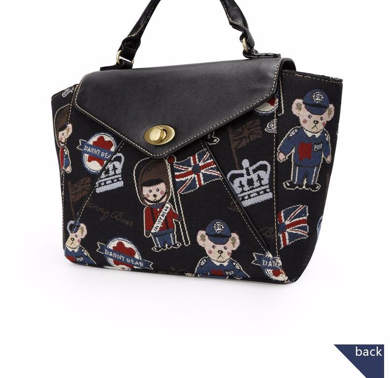 Vintage Jacquard Women Bears Embroidered Handbag Stylish Printing Flap Hand Bag Lady PU&Fabric Splicing Beige Black Shoulder Bag