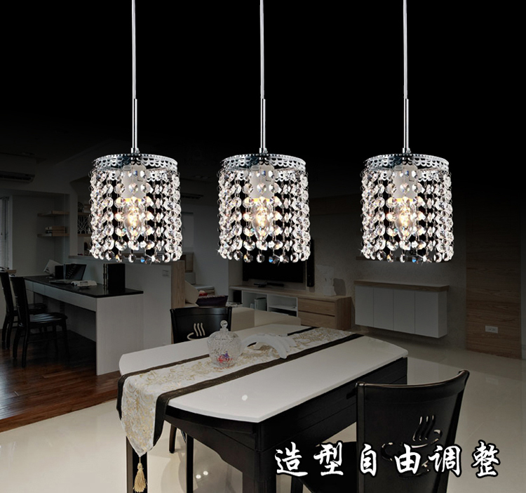 Led linear pendant lamps crystal lighting modern crystal for Dining room 3 pendant lights