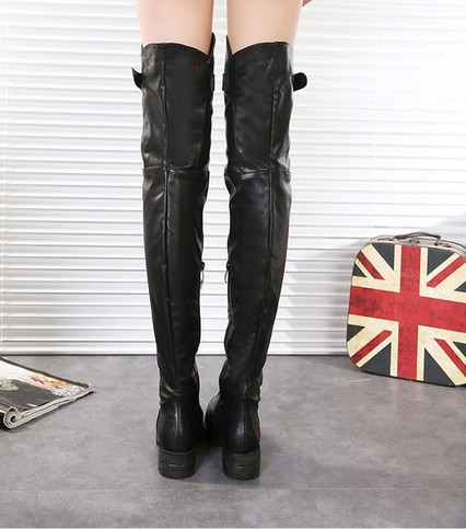 Leather Thigh High Flat Boots