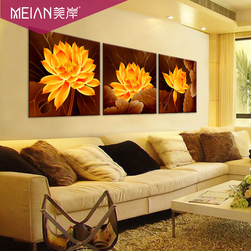 Гаджет  America lotus flowers and lotus shore stitch rich new living room triptych None Изготовление под заказ