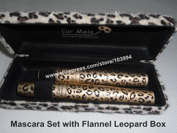 100% Quality Guarantee Car Mela Volume Mascara Black Mascara Set & Fiber Lengthening & Curving Mascara with Flannel Leopard Box