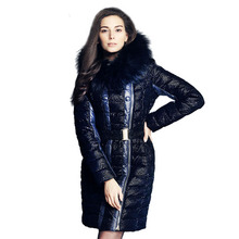 2015 Luxury Real Racoon Fur Collar Long Thick Light Patchwork Asymmetry Winter Jacket  Hooded White Duck  Women Down&Parkas