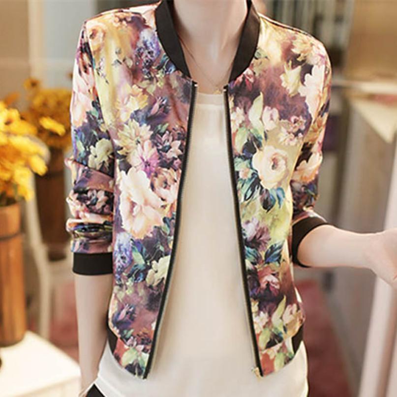MUQGEW Korean Stand Collar Long Sleeve Zipper Floral Printed Bomber Winter Jacket Coat Women female ladies flower stylish coat(China (Mainland))