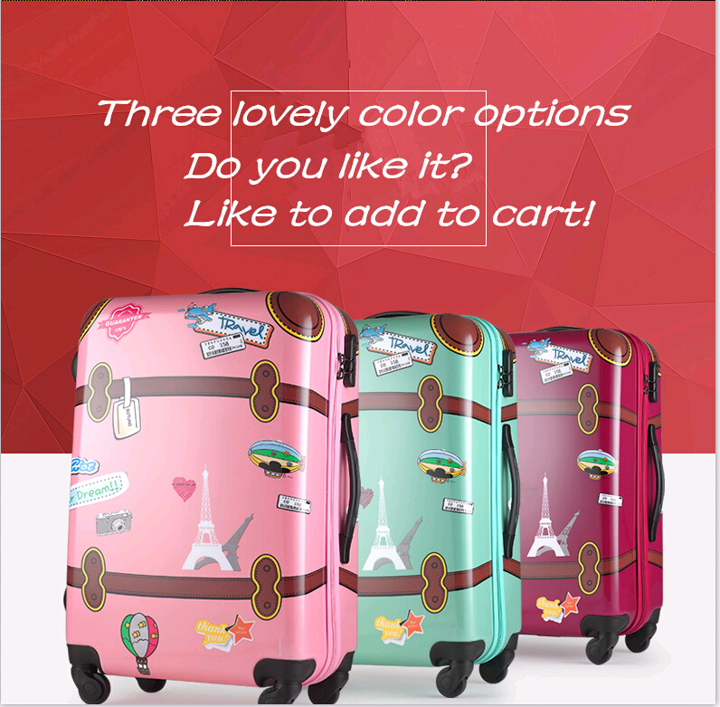 Cute cartoon series travel child suitcase for girls kids lovely abs pink spinner luggage pull rod box suitcases Free shipping(China (Mainland))