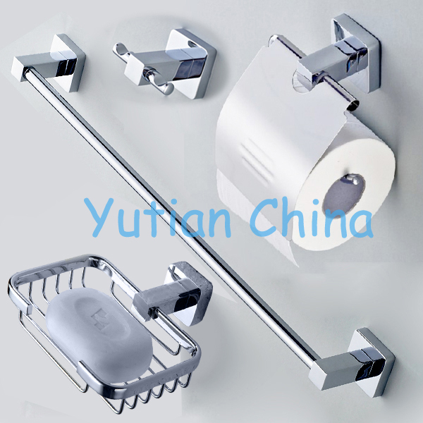 Free shipping,304# Stainless Steel Bathroom Accessories Set,Robe hook,Paper Holder,Towel Bar,Soap basket,bathroom sets,YT-10700B(China (Mainland))