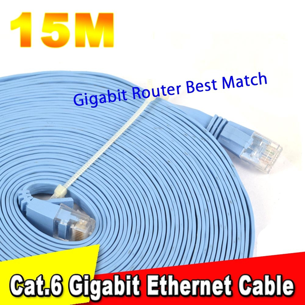 8P8C 15M CAT6 RJ45 Cable Flat UTP 10/100/1000Mbps Ethernet Network Cable 10G Base 32AWG Bare Copper For Router DSL Modem Laptop(China (Mainland))