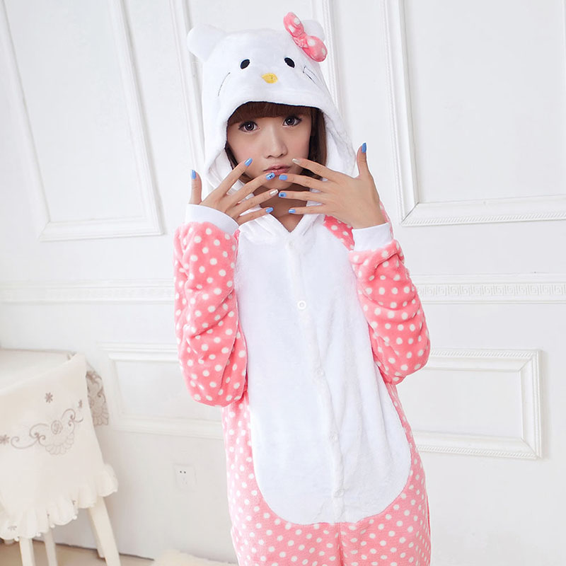 2016 Women Hello Kitty Pajamas Sets Warm Flannel Man Siamese Cute Cartoon Pajamas Winter Pink Dot Nightgowns Plus Size Wholesale(China (Mainland))