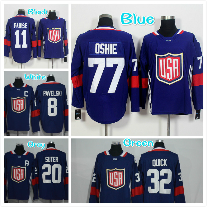 Mens 2016 WCH 8 Joe Pavelski 11 Zach Parise 20 Ryan Suter 32 Jonathan Quick 77 TJ Oshie Blue jersey(China (Mainland))
