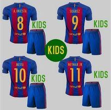 Kids 2017 BARCELONAIZERS children home away Soccer Shirt Set 16 17  BARCELONAIZERS Boys  camisetas de futbol 2016 maillots(China (Mainland))