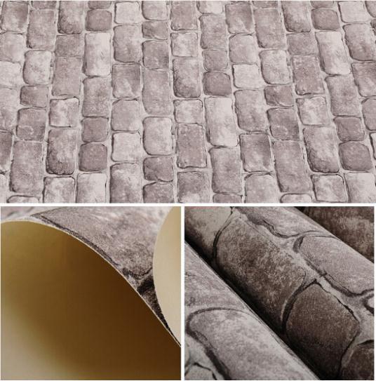 3d stone wallpaper pvc vinyl tan vintage wall paper brick for Wallpaper pvc 3d