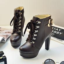 Kadın Moda Dantel Up Tıknaz Yüksek Topuk yarım çizmeler Platformu Bahar Sonbahar Kadın Ayakkabı Siyah Beyaz Kahverengi Sarı(China)