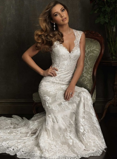 full lace fashion 2014 custom made v-neck cap sleeve Chapel Train wedding dress vestido de noiva - yangyang dresses store