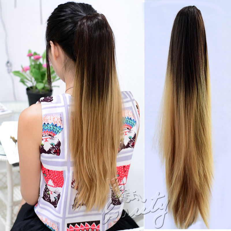 Wholesale 20 Sexy Long Straight Ponytails Light Brown Ombre Hair