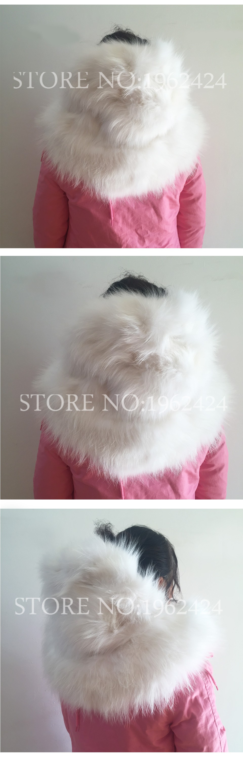 Free shipping 2016 New Women Winter Pink Jacket Coats Thick Parkas Plus Size Real Raccoon Fox Fur Collar Hooded Outwear coat