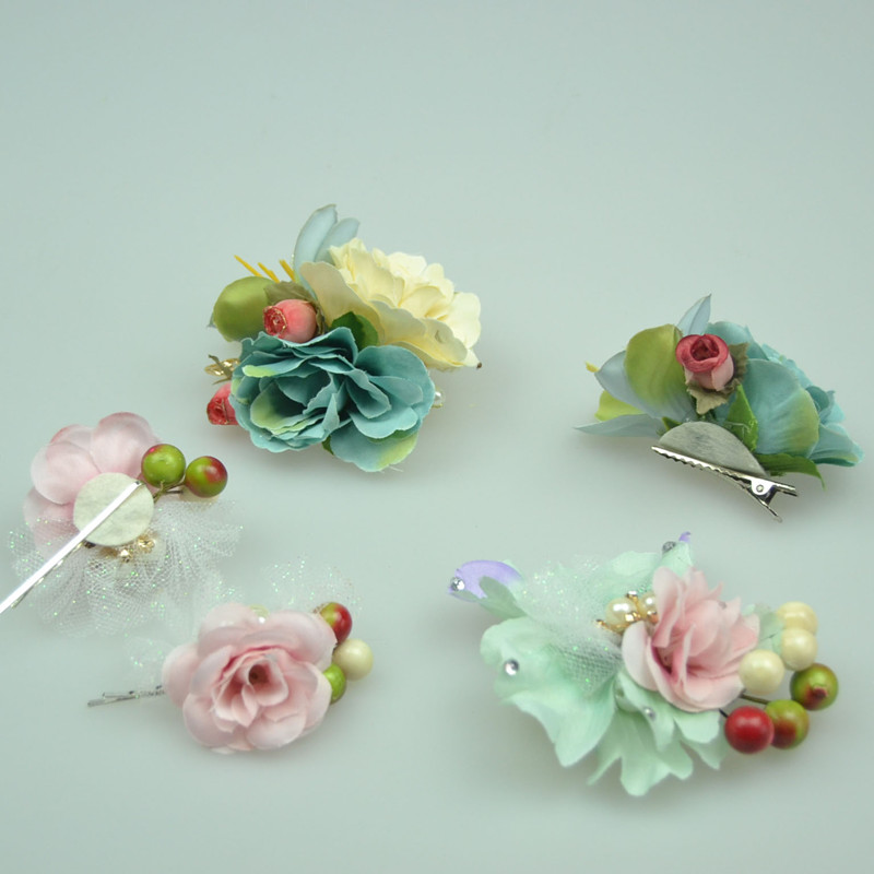 1/set Girl Barrette Bridal Small berry Hairpins Flower Orchid Hair Clip Wedding Headwear Decoration Women Hair Accessories 60T(China (Mainland))