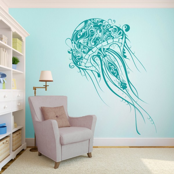 jellyfish wall decal  vinyl wall decal sticker jellyfish deep sea,