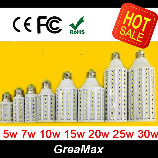 LED Bulb E27 AC 220V LED Corn Bulbs Light Lamp 7W 10W 15W 25W 30W White Light Warm Light Free Shipping(China (Mainland))