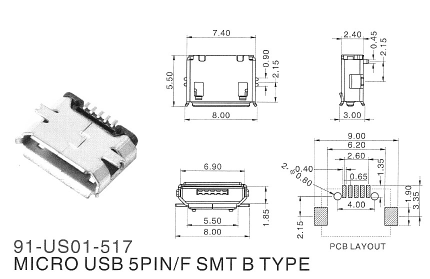 100Pcs Micro USB Type B Female 5Pin SMT Socket Jack