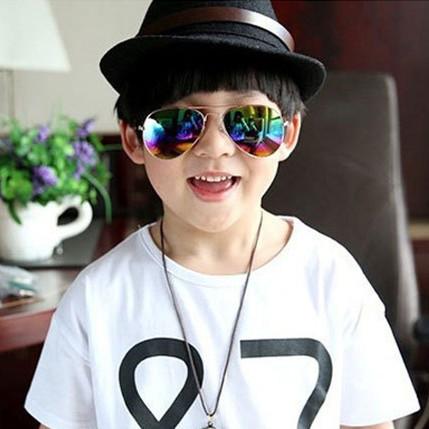 2016 новый ретро светоотражающие детская классические детские colorfor солнцезащитные очки óculos-де-сол мужской