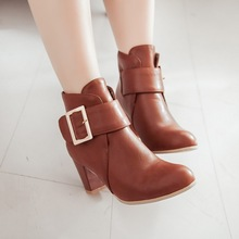 Big size 31-48 high quality hot sale 2015 new style women casual buckle strap bota masculino high heels ankle boots(China (Mainland))