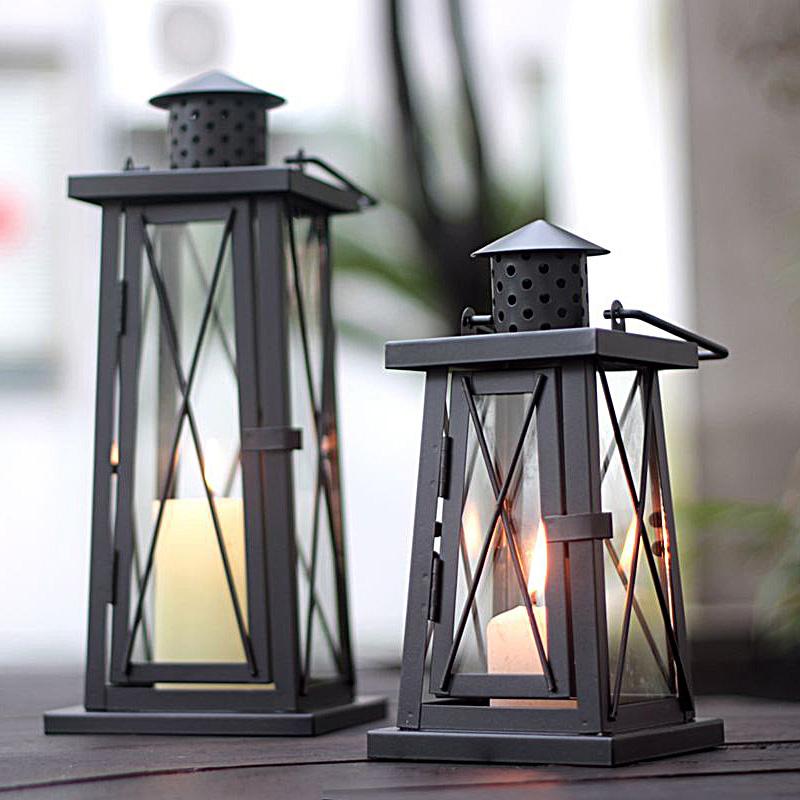 classical chimney-shaped iron metal hurricane lantern candle holder home garden balcony decoration 658A(China (Mainland))