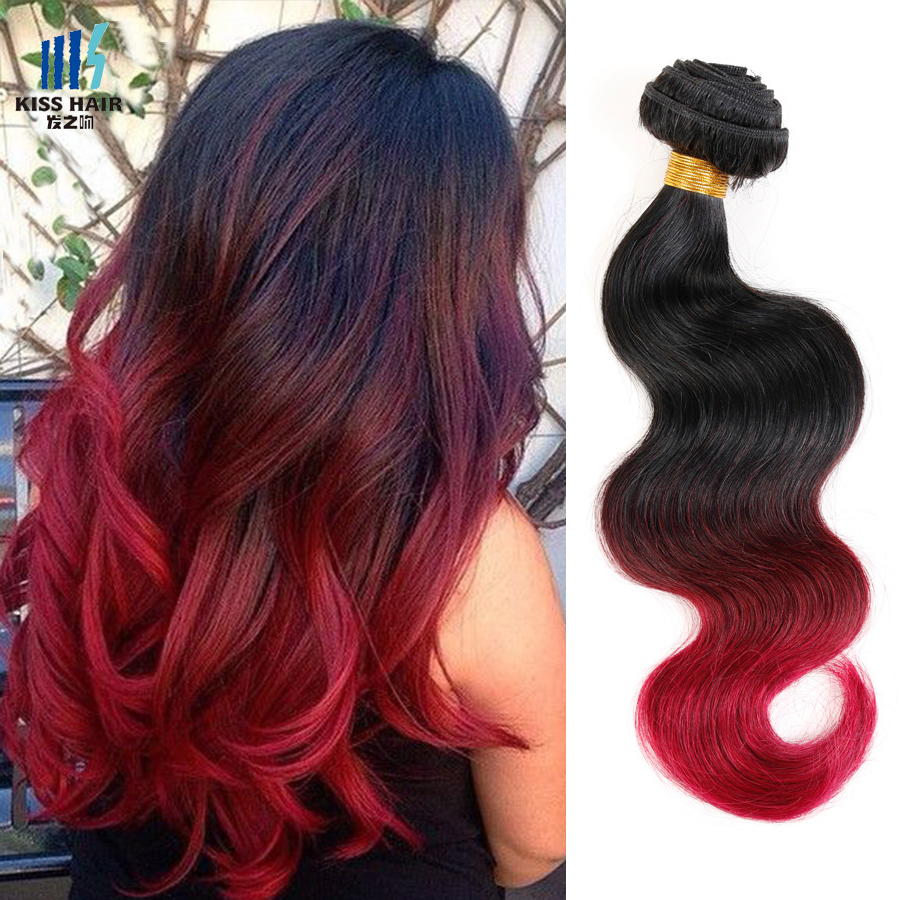 2 Bundle 12-26inch Ombre Brazilian Hair T1b/99j/burgundy Brazilian Body Wave Ombre Weave Kisshair 3 tone Colored Brazilian Hair