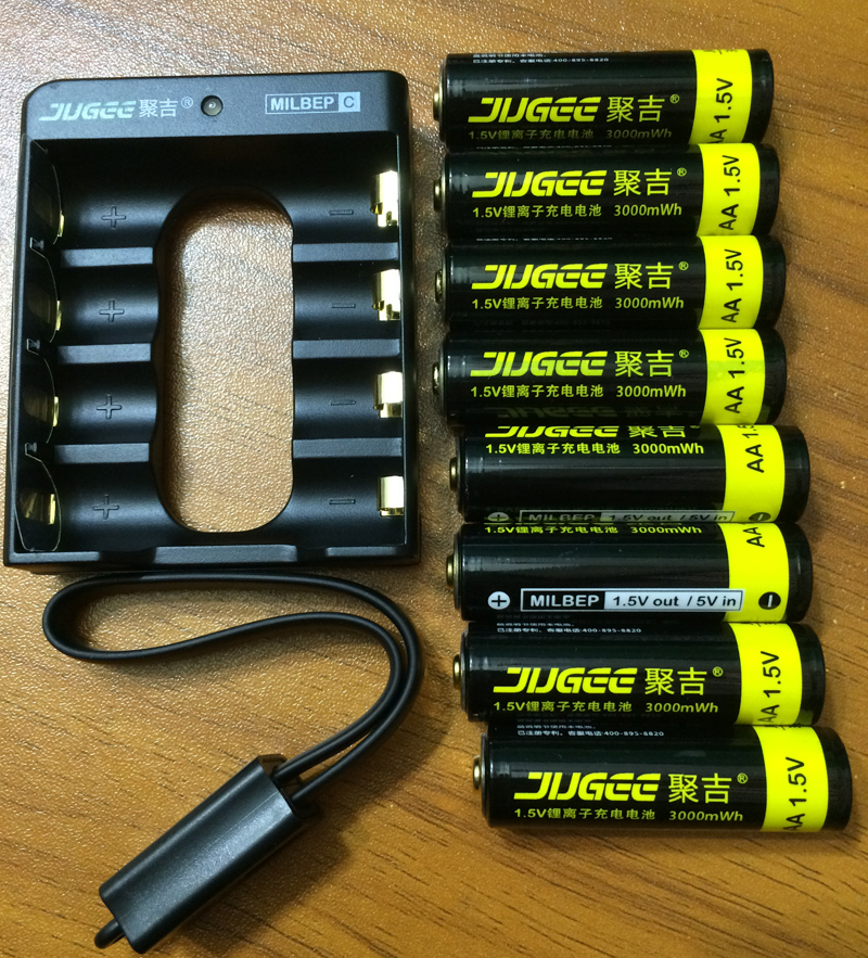 jugee 8pcs 1.5v 3000mWh AA rechargeable Li-polymer li-ion polymer lithium battery +1 USB Charger(China (Mainland))