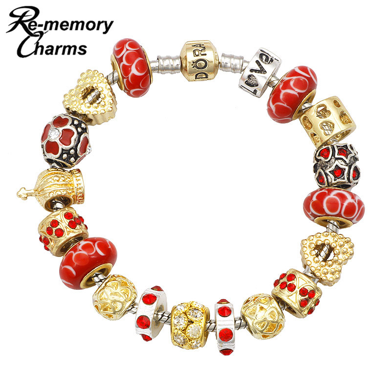 Браслет с брелоками Wonderland Beaded Charm Bracelet & Pulseira pandora Charm bracelets Bangles dull polished mixed beaded bracelet