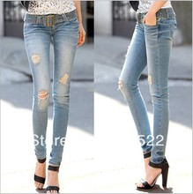 hot sell new arriveal fashion women jeans free shipping personality hole jeans woman pencil pant  Straight leg pants nz0477