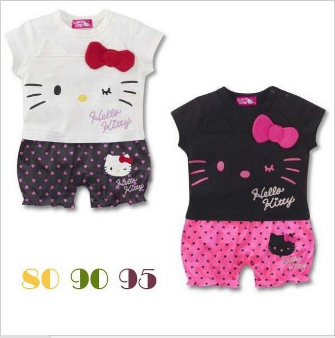 2015 baby winter romper clothing sets newborn Cartoon hello KT kids rompers boy girl children autumn