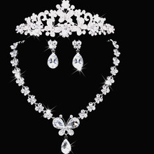 Bowknot Wedding Accessories Fashion Elegant Luxurious Crown Tiara Rhinestone Necklace Earring Jewelry Set Brides Free Shipping(China (Mainland))