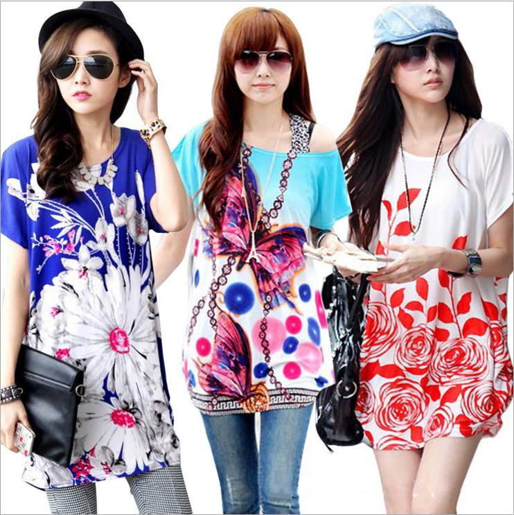 2016 Women's short sleeve T shirt multicolor printing pattern middle aged free size manufacturers supply wholesale trade CQ02F02(China (Mainland))