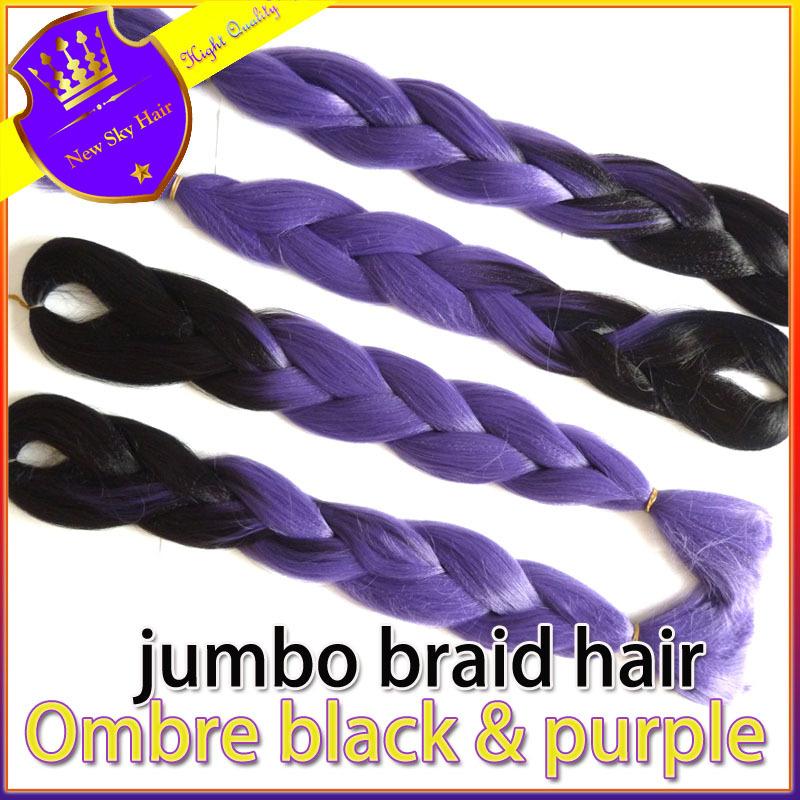 Free shipping 6pcs/lot Ombre Back to Purple Braiding Hair Kanekalon Jumbo Braid Hair Marley Synthetic Braid Hair Extensions(China (Mainland))