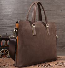 TIDNG Nubuck Leather Briefcase For Men Top Quality Design Handbag Simple Genuine Leather Tote Bag 11323