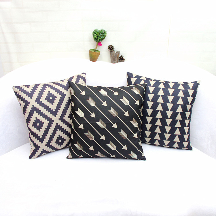 Cartoon Christmas theme gift pillowcase linen pillow abstract geometric pattern pillow cushions home and linen cover