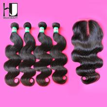 HJ Weave Beauty Brazilian Body Wave 4 Bundles With Lace Closure 100% Human Virgin Hair Free Shipping DHL(China (Mainland))