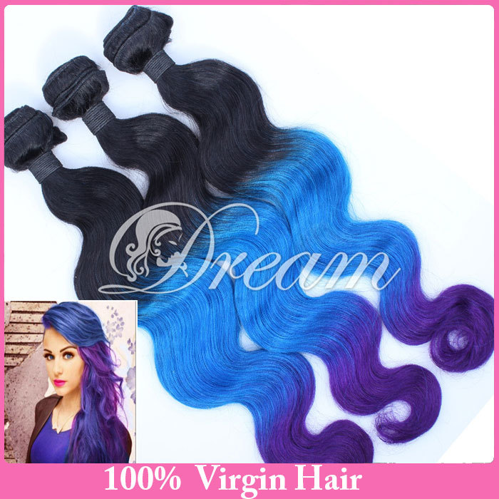 Human Hair Products Brazilian Virgin Hair 1b/blue/purple Ombre Hair Extensions Body Wave 3 Bundles Hair Weaves Free Shipping(China (Mainland))