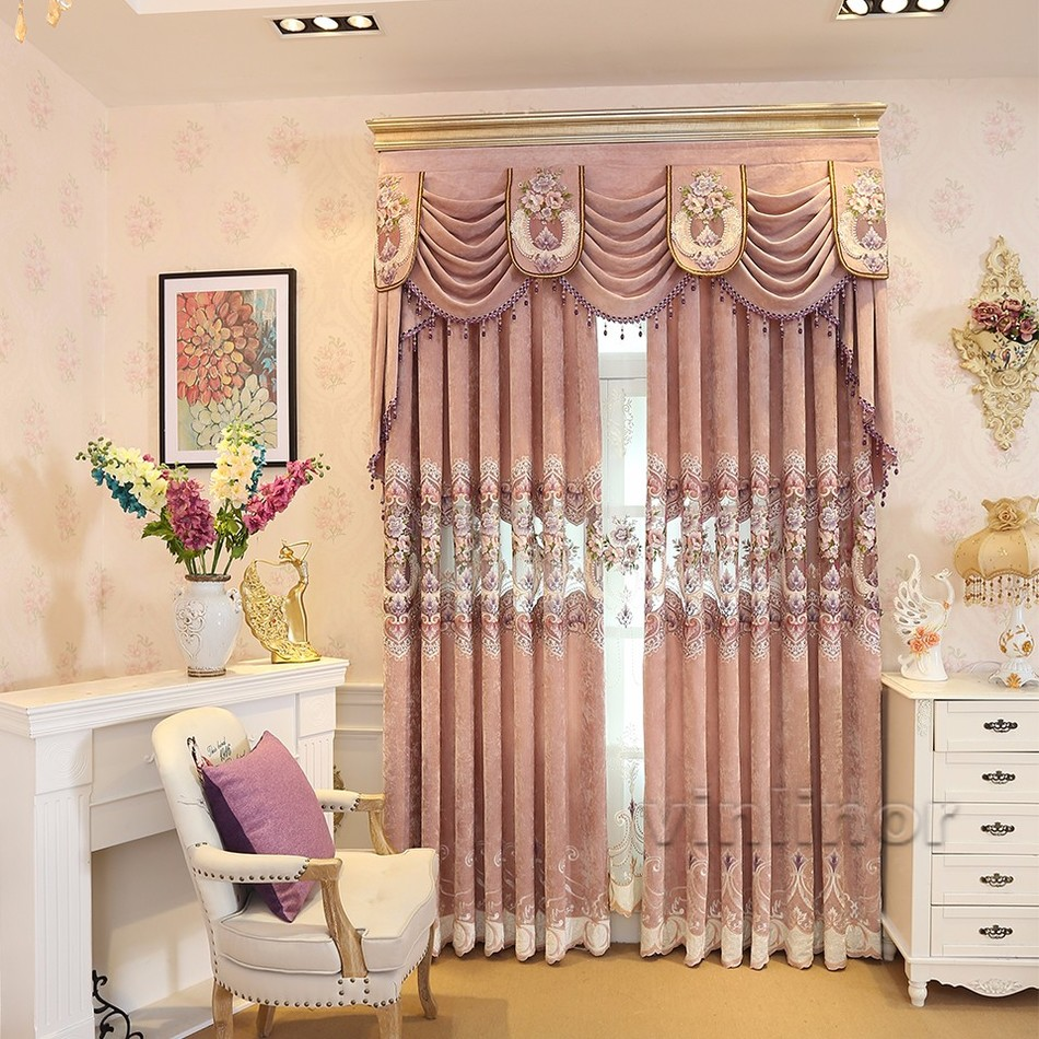Direct Manufacturer Best Embroidered Window Curtains Cloth And Tulle Vertical Blinds Blackout70%-90% European And American Style(China (Mainland))