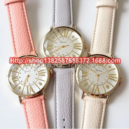 Free Shipping,Good Quality Leather Strap Color Strips Dial Super Design Casual Geneva Watch for Boy and Girls  5pcs/lot <br><br>Aliexpress