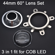 Buy 1 Set 44mm Optical Glass LED Lens 60 degree + Round Hole Reflector Collimator + Fixied Bracket 3 1 Kit COB LEDs for $2.40 in AliExpress store