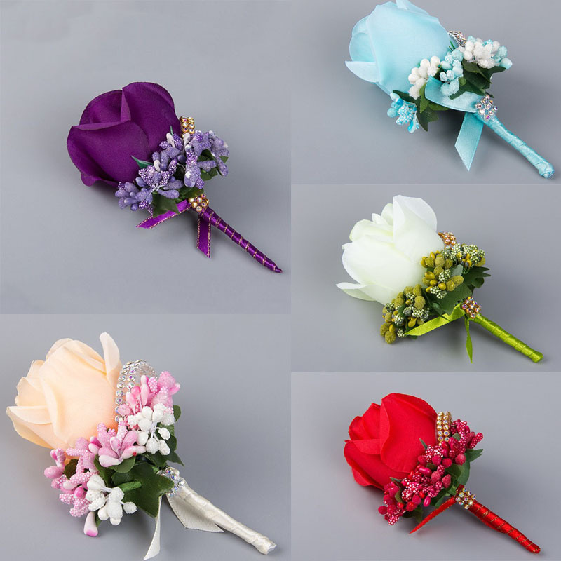 4PCS Ivory Red Best Man corsage for Groom groomsman silk rose flower Wedding suit Boutonnieres accessories pin brooch decoration(China (Mainland))