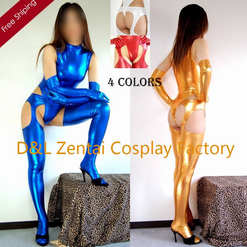 Free Shipping DHL Adult Sexy Costume Colorful Tights Shiny Metallic Zentai Catsuits Woman Leotard 4 Pieces MY1436(China (Mainland))