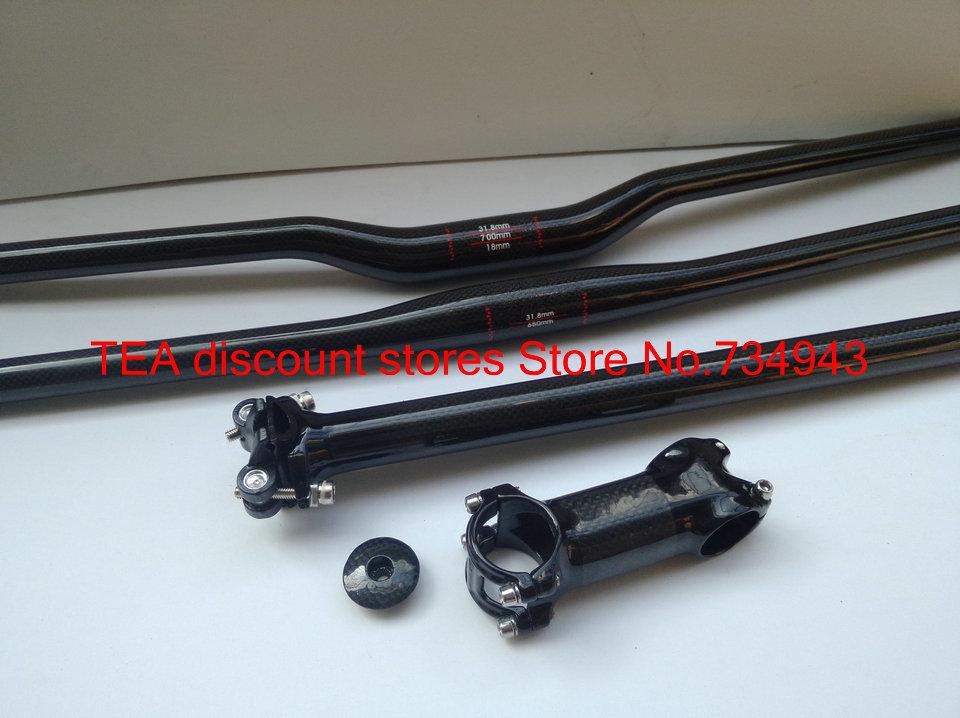 sup mtb bike parts set flat riser handlebar seatpost stem top caps black carbon parts 10 color<br><br>Aliexpress
