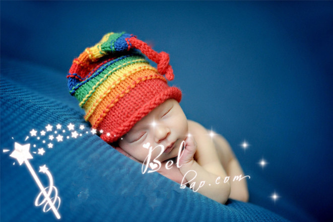 Patchwork 2015 Baby Caps Hat Fashion Newborn Boys Fringe Crochet Knit Costume Rainbow Style Photo Photography Prop Outfits(China (Mainland))