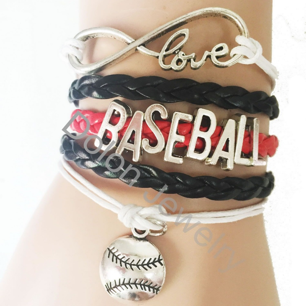 Multi Color Leather Rope Wrapped Love Infinity 8 Baseball Bracelet Drop Shipping(China (Mainland))