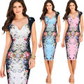 Women Dress Vestidos Summer Print Flower Sexy Slim Fitness Long Casual Party Dresses Plus Size XXL