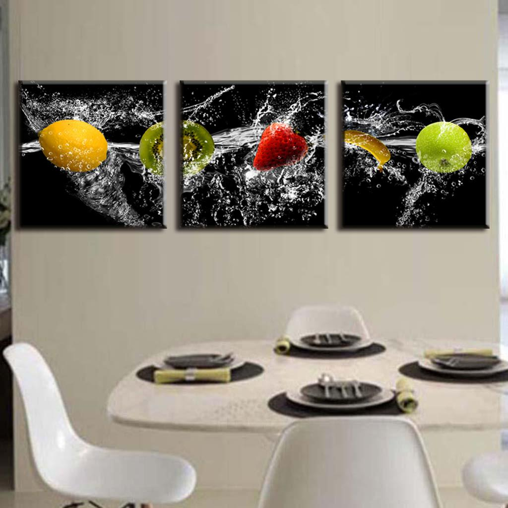 New modern 3 pieces painting on canvas delicious fresh for Canvas dining
